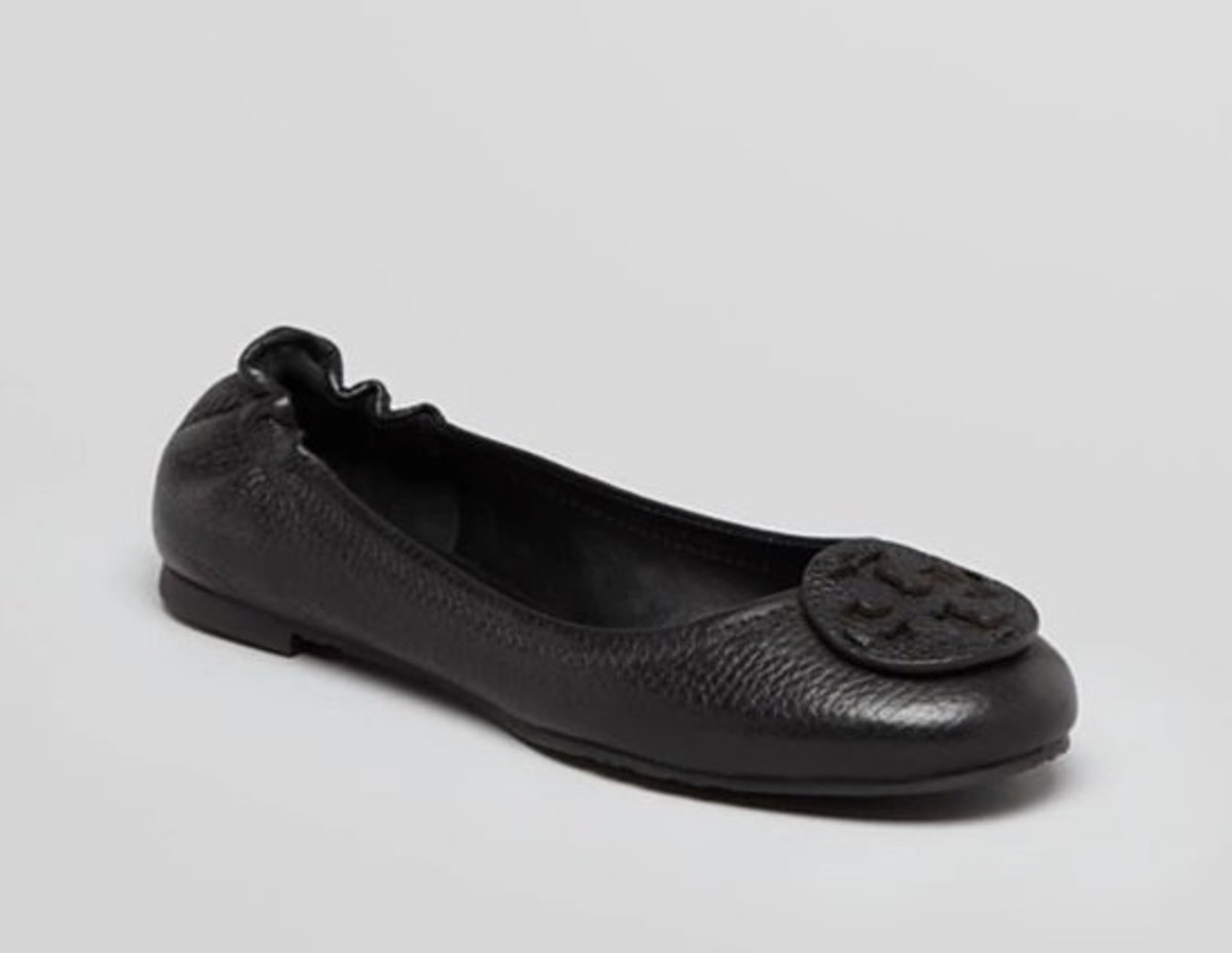 Reva Tumbled Leather Ballet Flats Black (size 5.5)