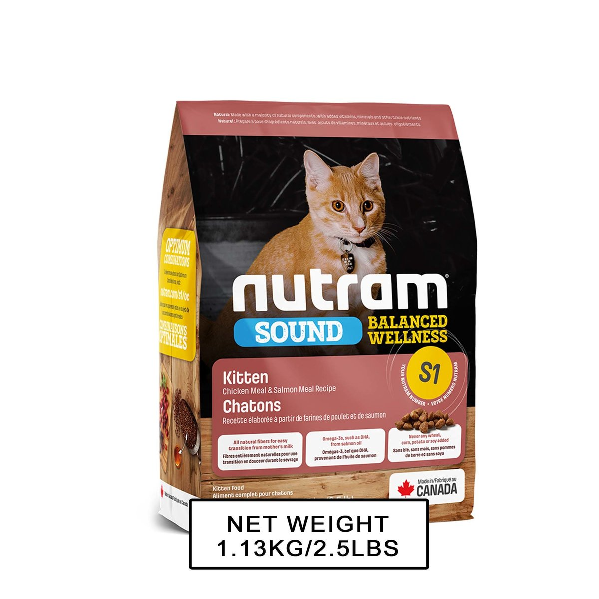S1 Nutram Sound Balanced Wellness Kitten Food 1.13kg