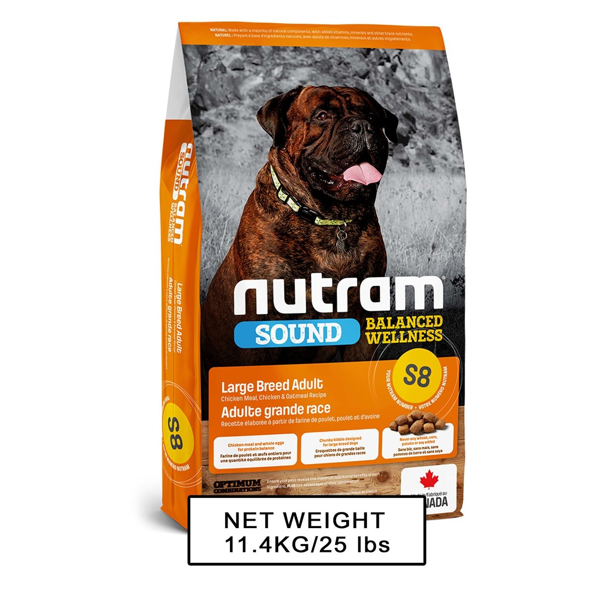 Nutram Sound DOM S8 Large Breed Adult Dog  11.4kg