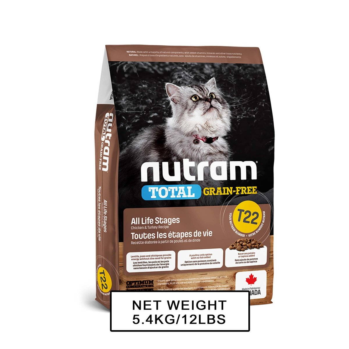 Nutram Total T-22 GF CF Turkey, Chicken & Duck Recipe 5.4kg
