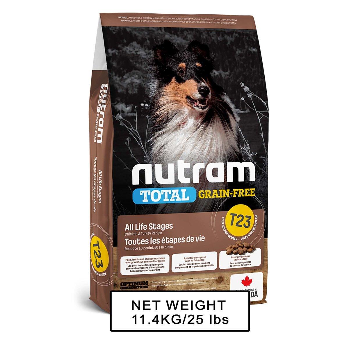 Nutram Total DOM T-23 GF DF Turkey, Chicken & Duck Recipe 11.4kg