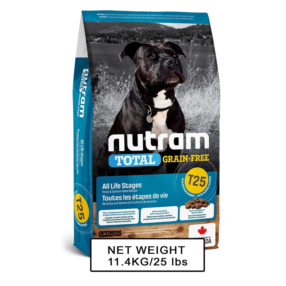 T25 無薯無穀糧全犬糧 (三文魚+鱒魚) 中型犬 11.4kg