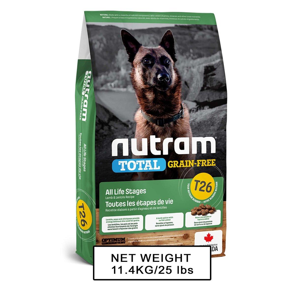 Nutram Total DOM T-26 GF DF Lamb & Lentils Recipe 11.4kg
