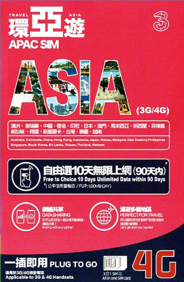 Asia 10-Day Roaming Data Prepaid SIM