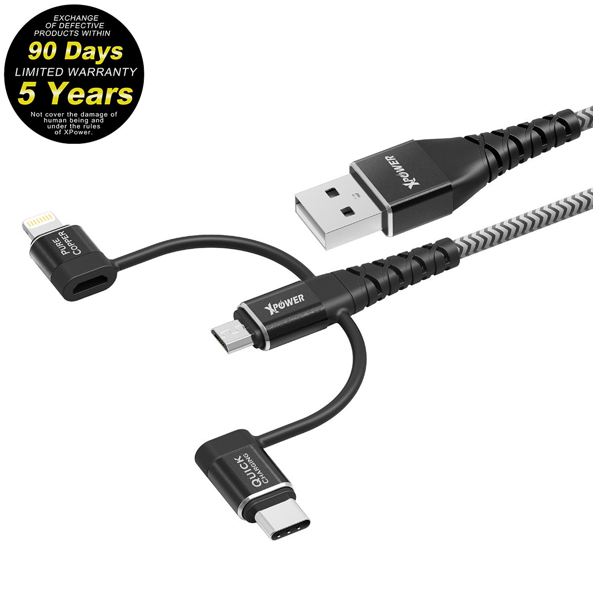 0.2m K3強韌3合1高速傳輸充電線[Type-C + Micro USB + Lightning] - 黑色