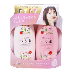 肌美精 KRACIE ICHIKAMI 彈力鬆軟 洗護套裝 480ml+480g (淺粉紅 + 粉紅) - 日版新版 (4901417786654)