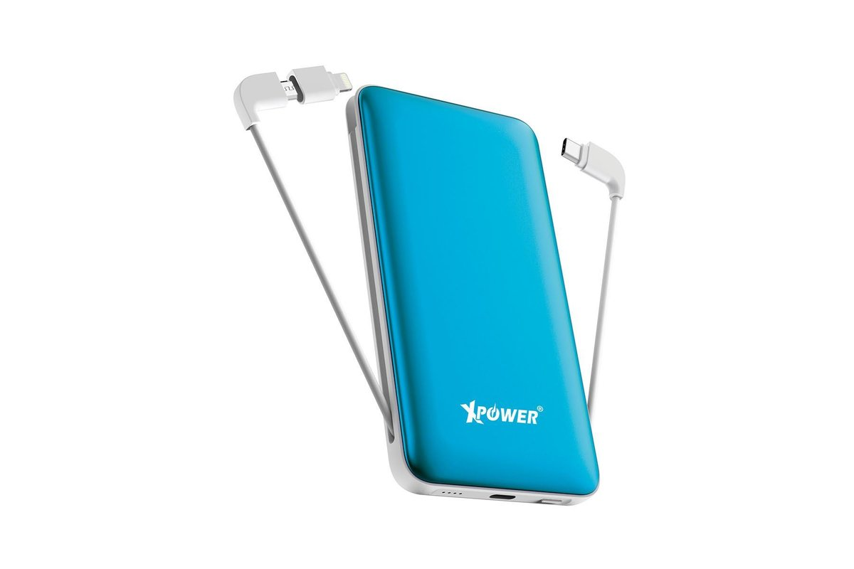 Built-in Cable Type-C+MicroUSB (w/Lightning Adapter) PD & QC 10000mAh Power Bank PD10X [Blue]