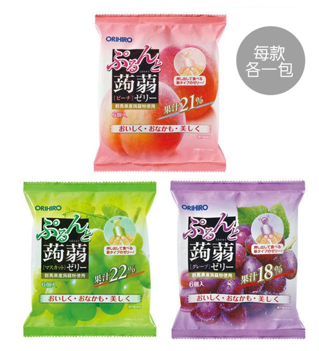 蒟蒻果凍20克x3包-(桃味,葡萄,青提各1包)