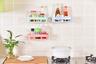 [可重用]廚房/浴室牆壁置物架[方形粉紅](附有強力魔術貼),底部蔬洞去水