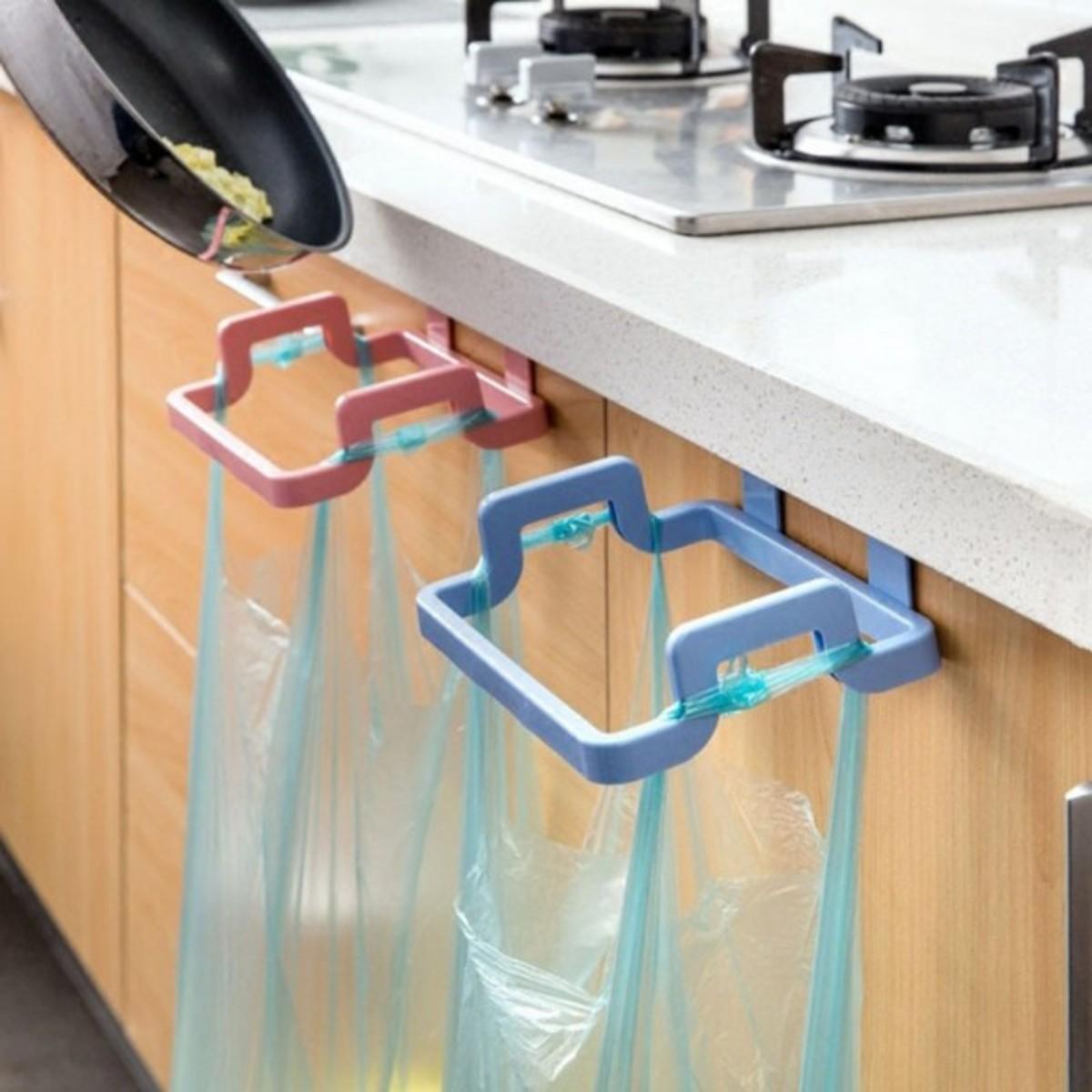 櫥櫃門背式垃圾袋支架(隨機顏色:綠色/米白色/藍色)