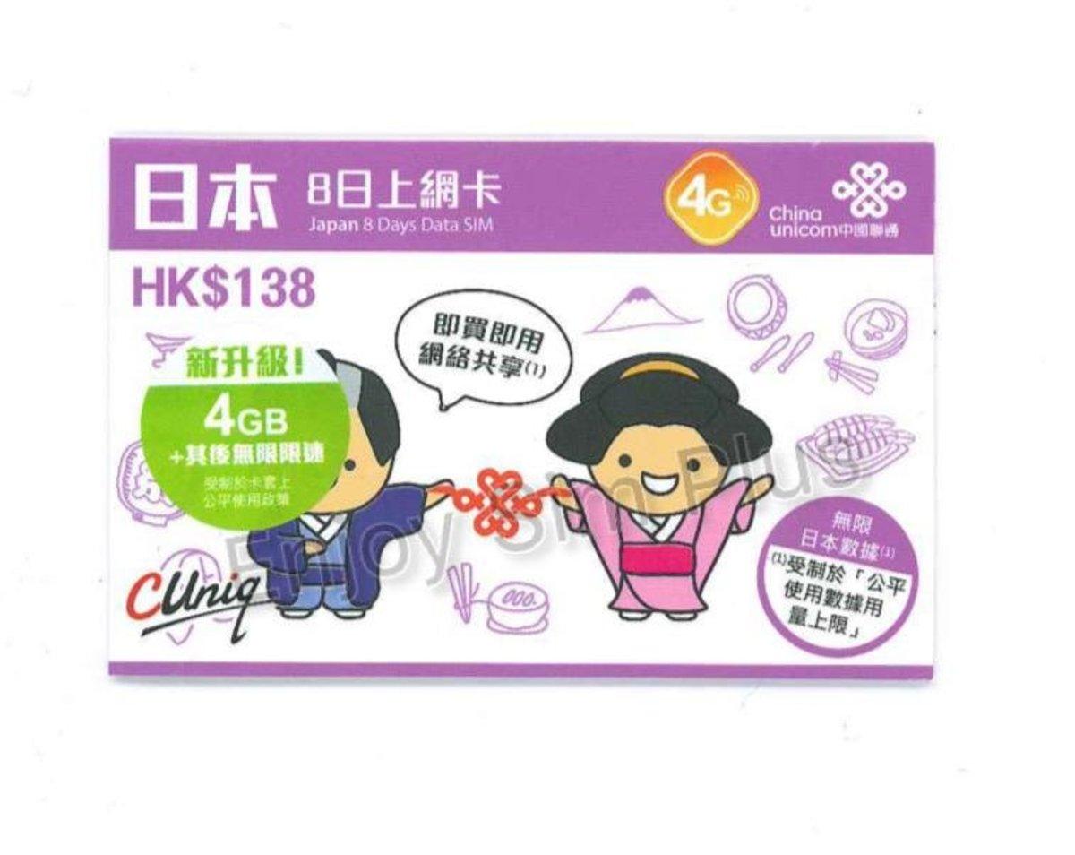 8Days Japan 4G/3G Unlimited Data Sim Card(4GB High Speed) - Expiry Date:30/09/2020