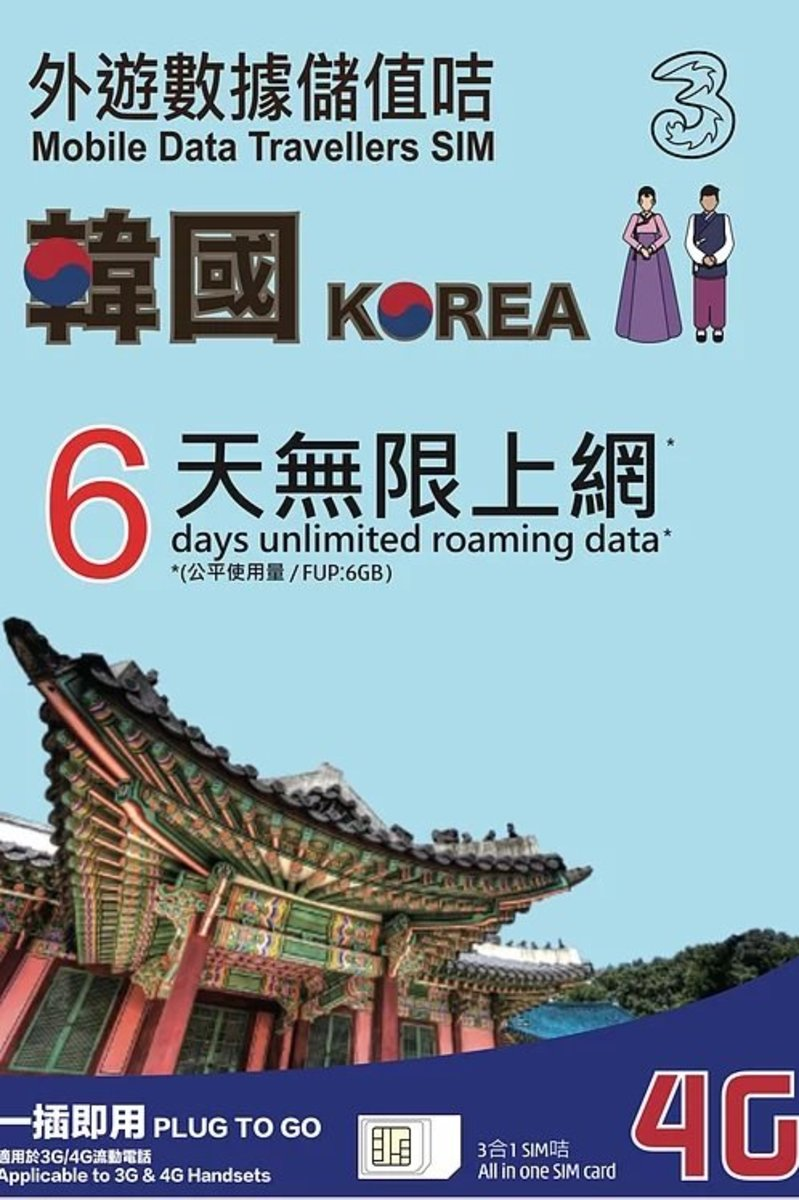 3HK 6days Korea 4G/3G unlimited Data card(6GB High Speed Data) - Expiry Date:31/12/2020