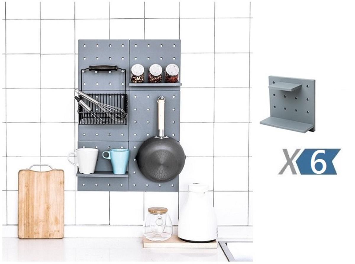 北歐風格 DIY 壁掛置物架 - 灰色 x 6