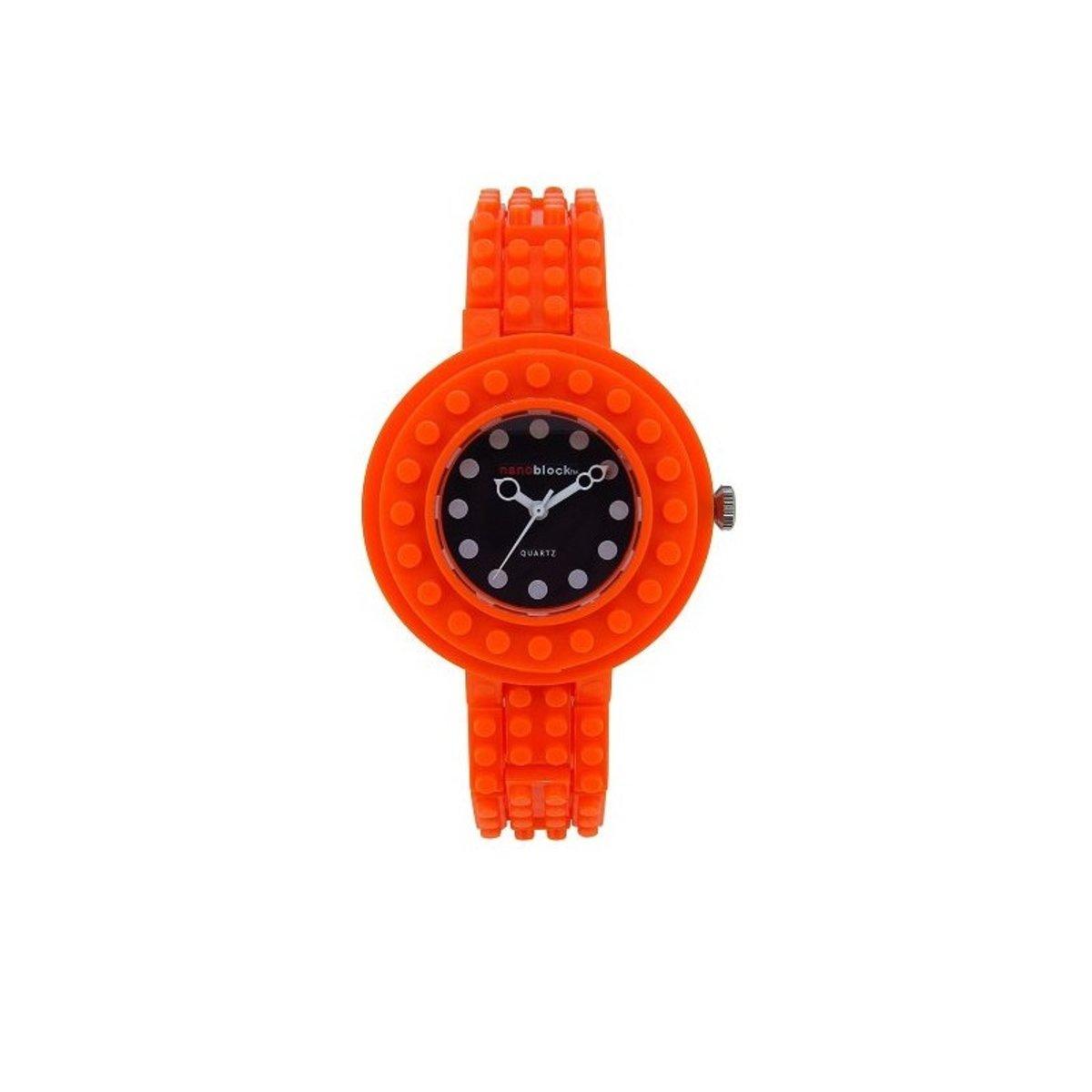 圓殼系列樂高積木錶-橙色/CIR-09 平行進口