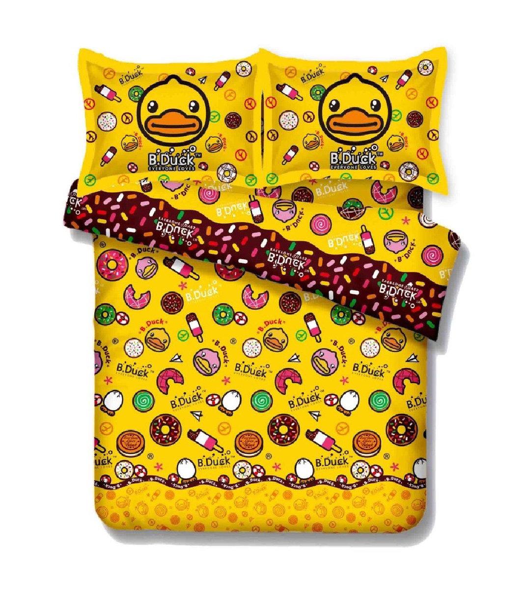 B.Duck Cartoon Cotton Series Fitted Sheet & Pillow Case Set -  Single (BD003FDS36)