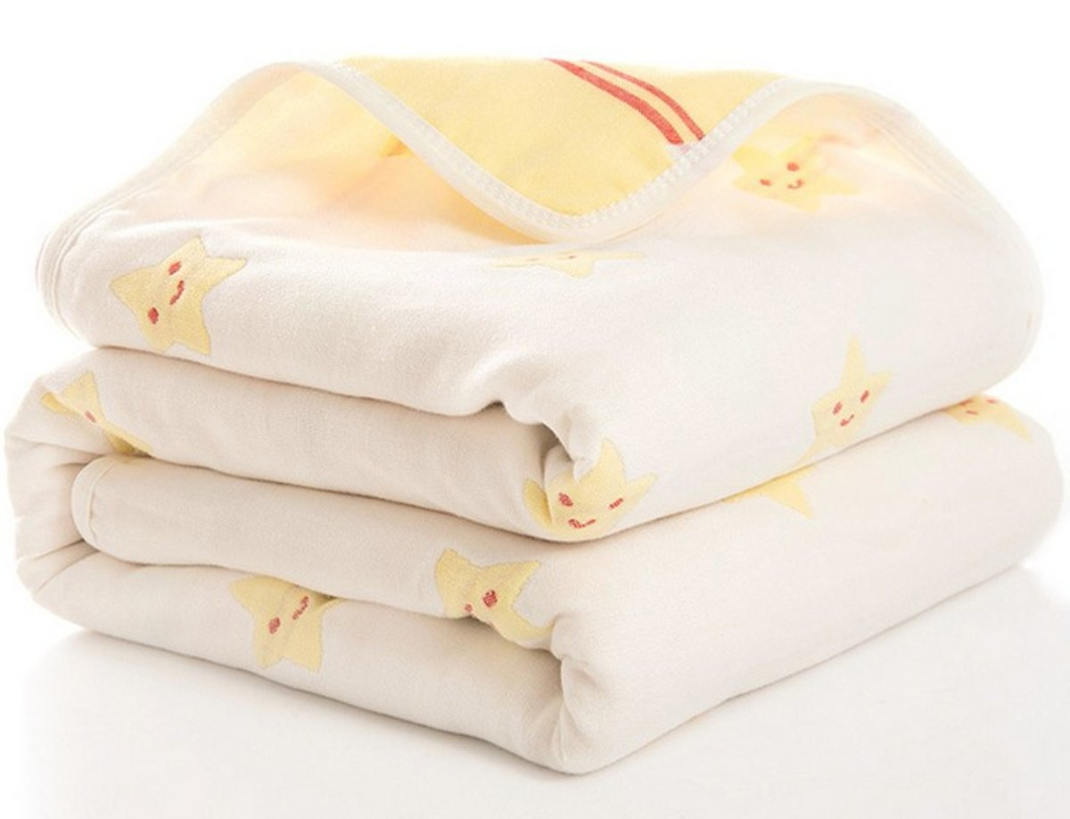 Six-layer Yarn cotton square baby swaddle - 110D Yellow little star