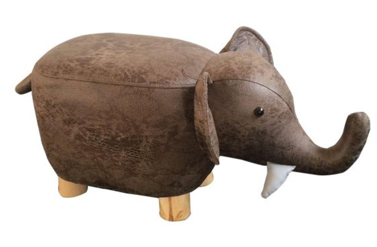 實木腳架小象仿皮兒童凳-啡色 (ELE-BR)