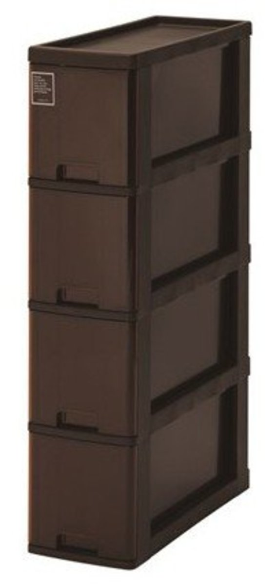 Silky four-layer narrow storage bucket cabinet - brown (K-40-BR)