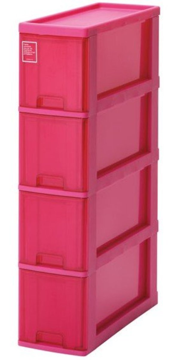 Silky four-layer narrow storage bucket cabinet - pink (K-40-PK)