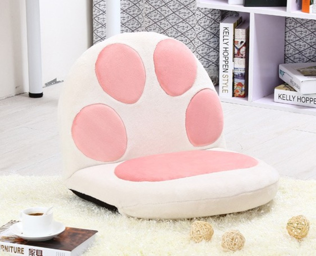 Cat meat ball lazy sofa (large) - white (M02-WH)