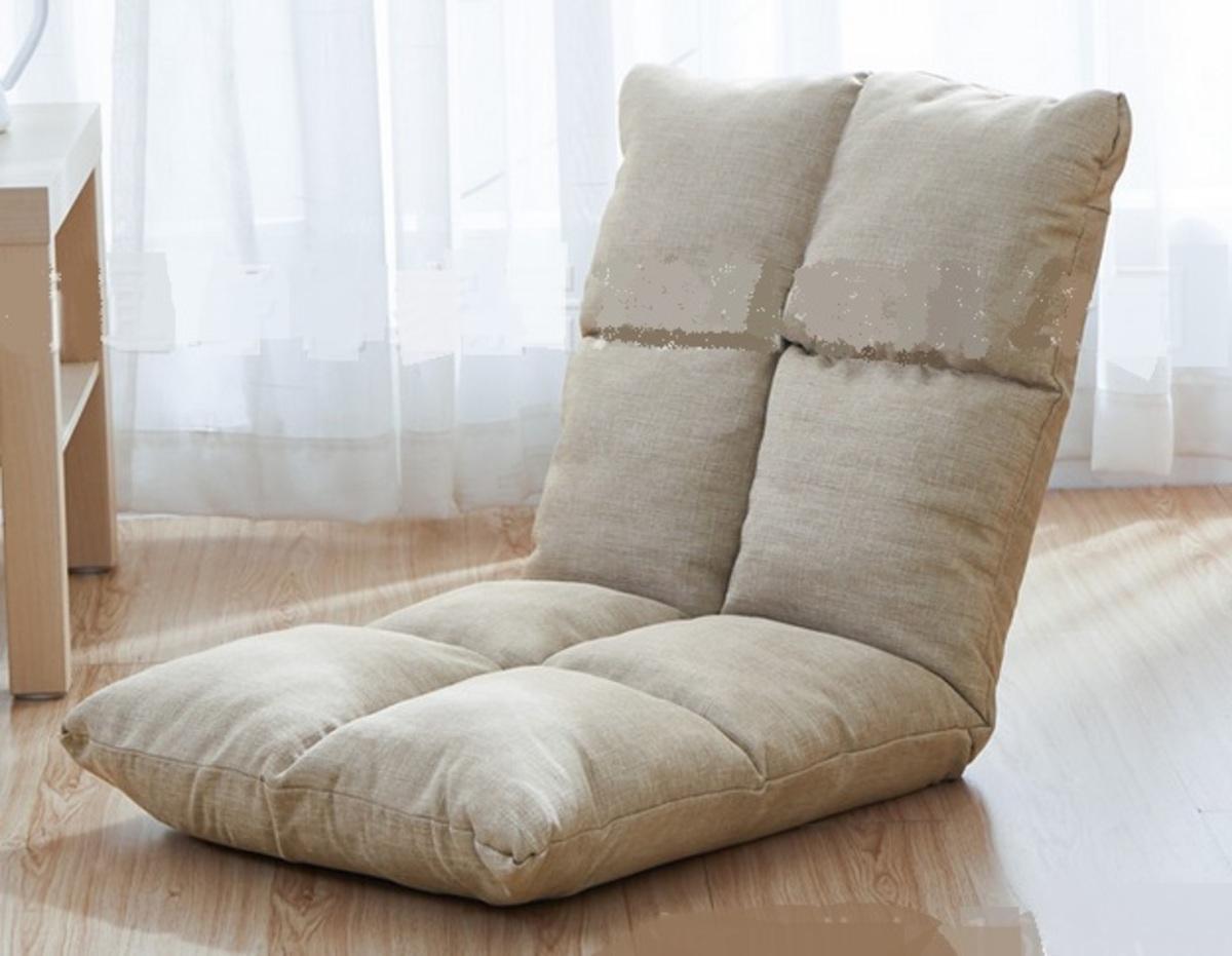 透氣舒適麻布懶人梳化-米色(SPA01-BE)