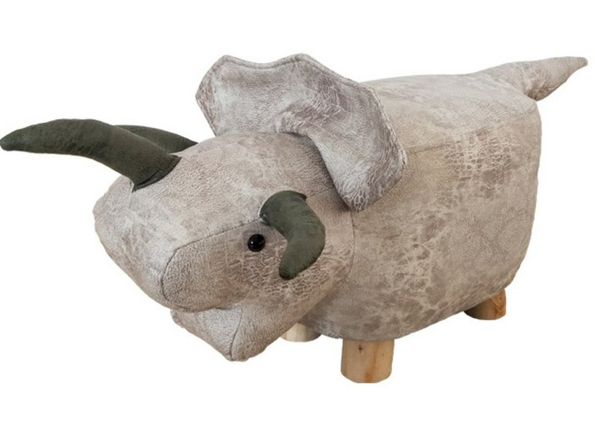 Triceratops faux leather children's stool - brown (TRI)