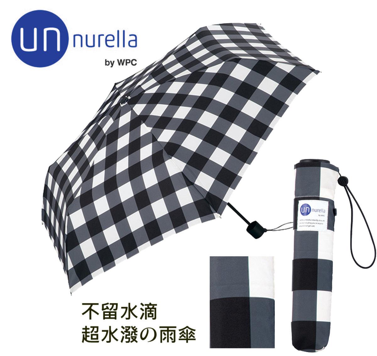 雨水一秒彈開 ‧日本雨傘專家 - 不沾水伸縮雨遮- 格仔/黑色