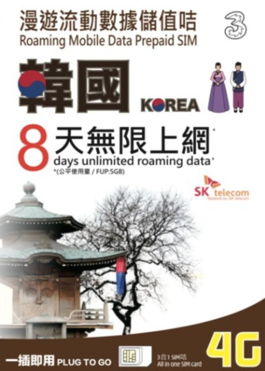 Korea Prepaid 8-Days Unlimited 4G LTE Sim Card