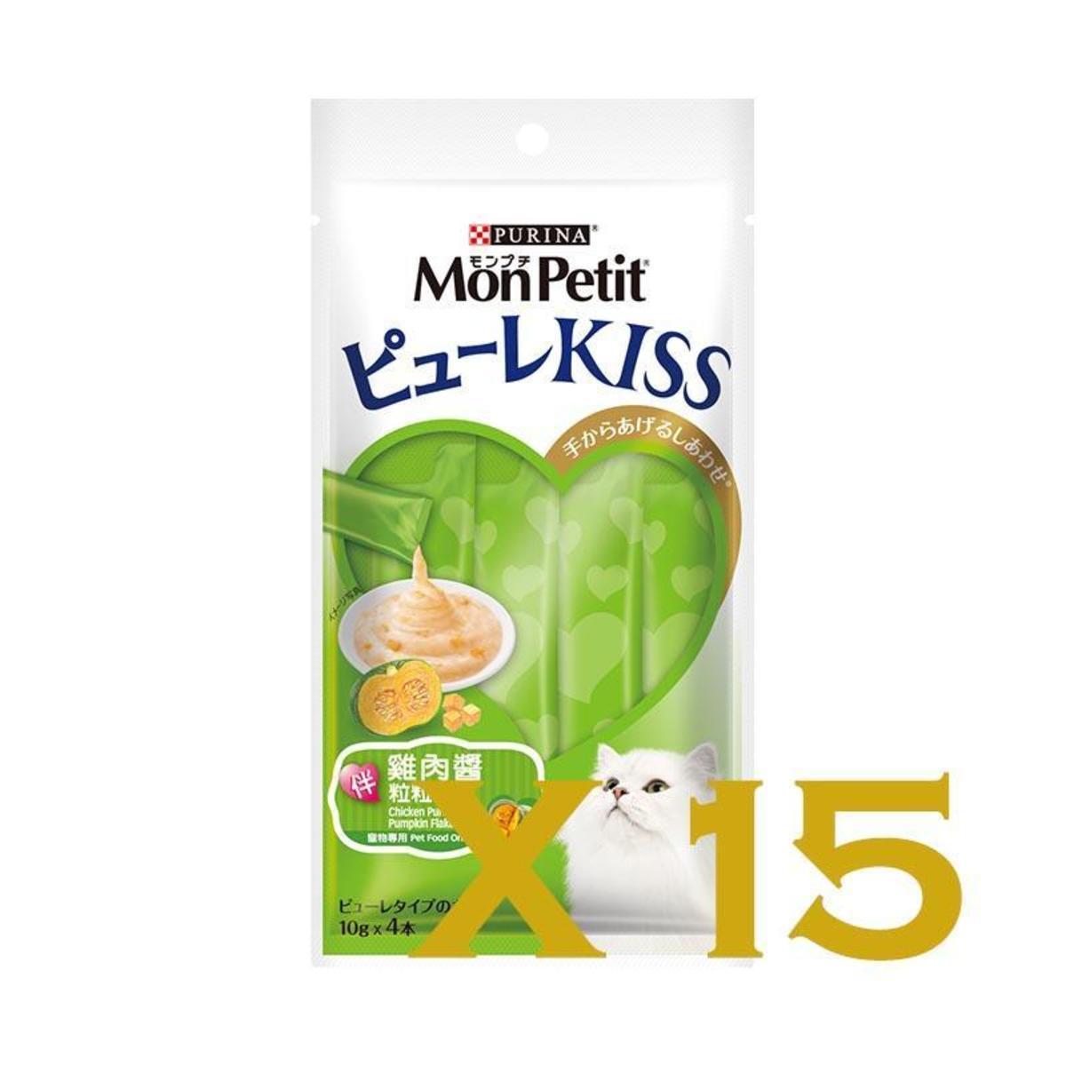 PureeKiss貓小食系列雞肉醬伴粒粒南瓜袋裝40g(10gx4條)-15袋(60條)