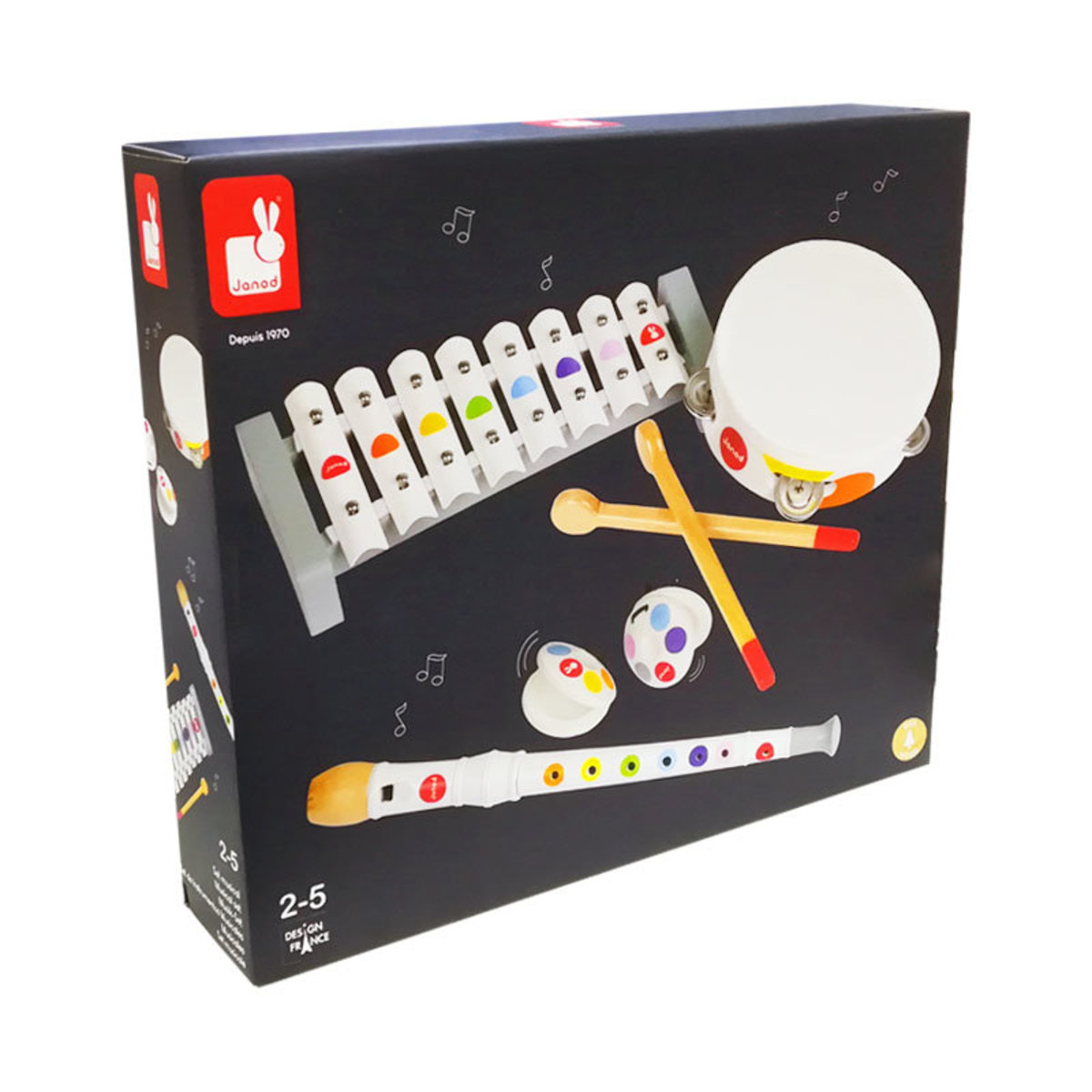 Children's Musical Instrument Set (2-5 years old) French Brand (Candy Color + White)