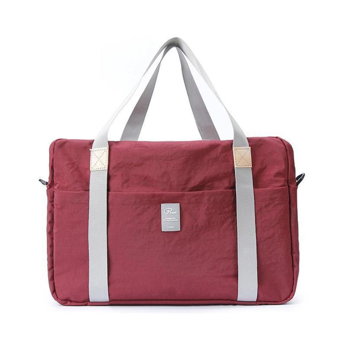 尼龍防水摺疊式旅行收納袋 行李袋 - 酒紅色