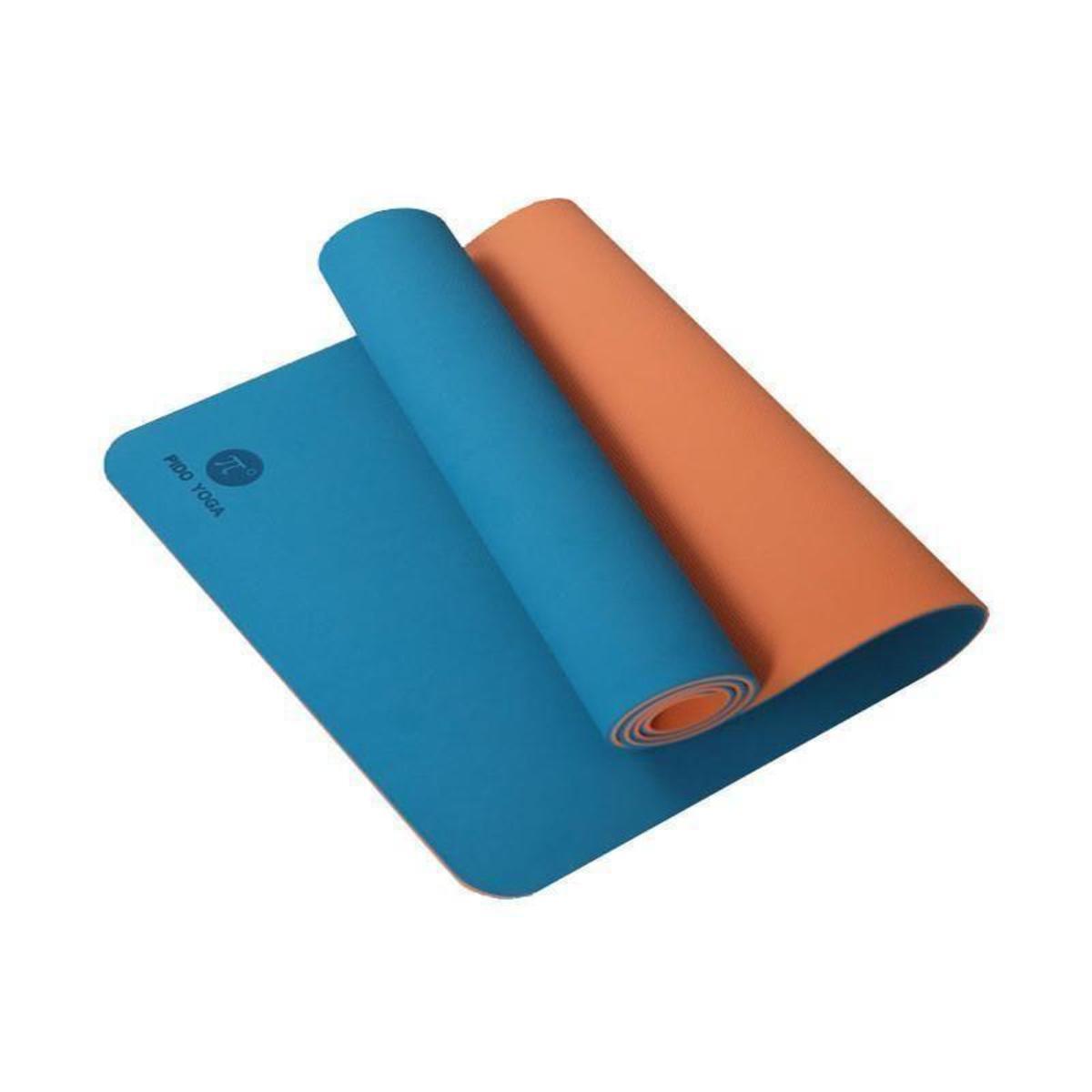 PIDO-01 6mm防滑瑜珈墊 (4款) 連收納袋+綁帶 - 淺藍色/橙色