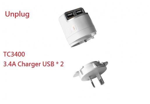3400 mA Smart Phone Tablet Ipad Powerful Charger USB * 2 UK PLUG