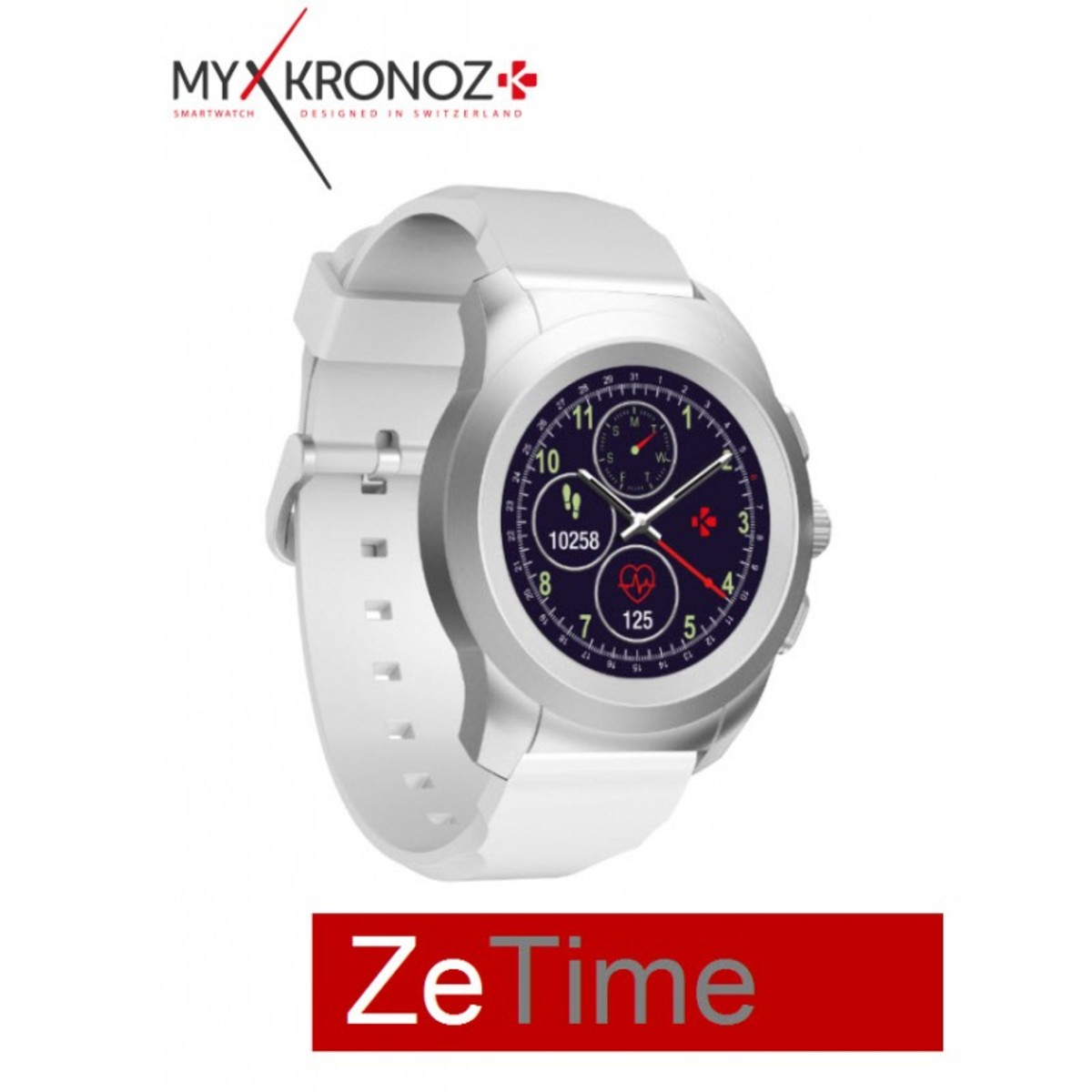 ZeTime Hybird SmartWatch Brushed Silver/White Silicon Flat MYK14-SL-WH 44mm