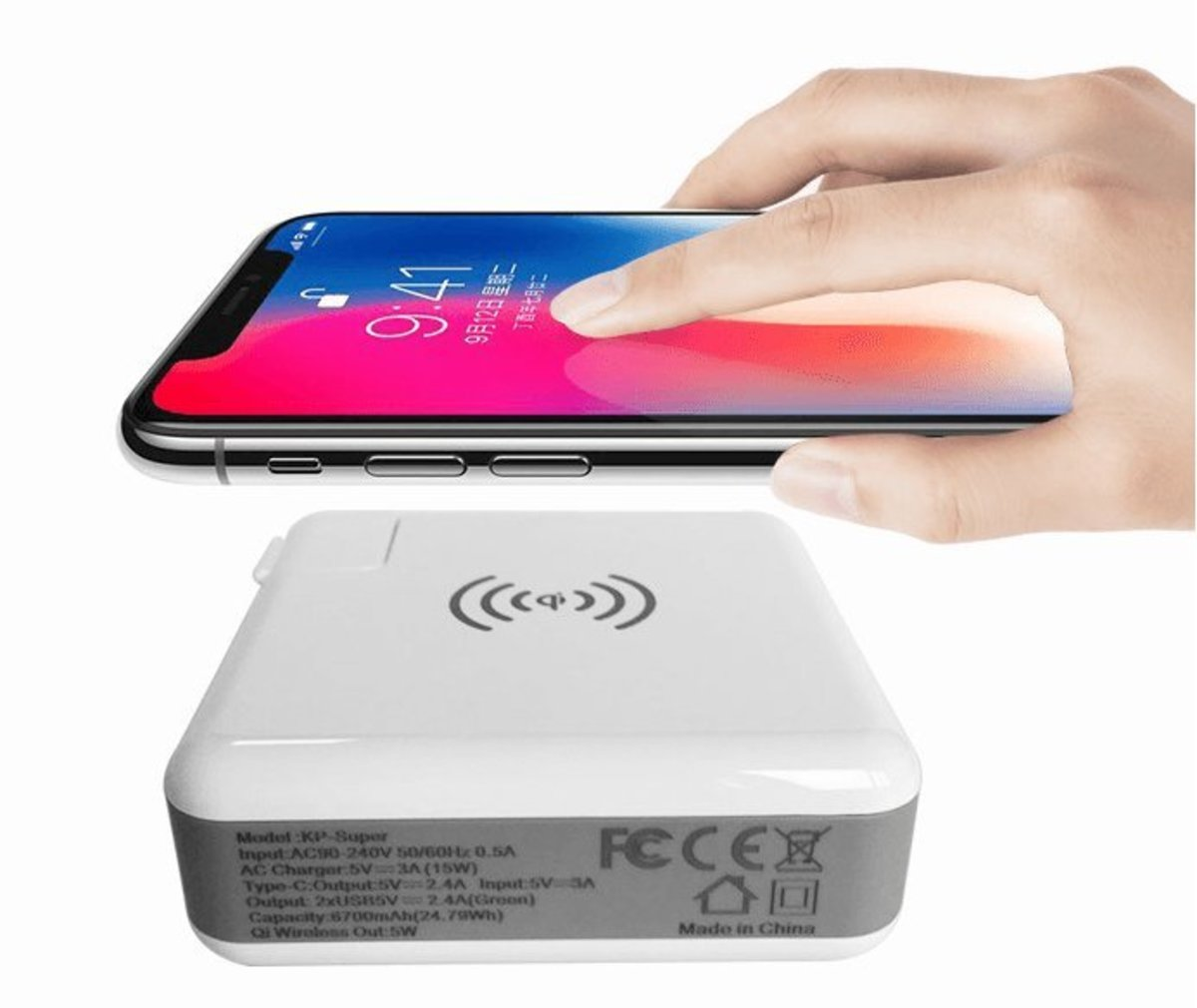 10W X2 Station Wireless Fast Travel Charger 18W PD Apple Android Samsung