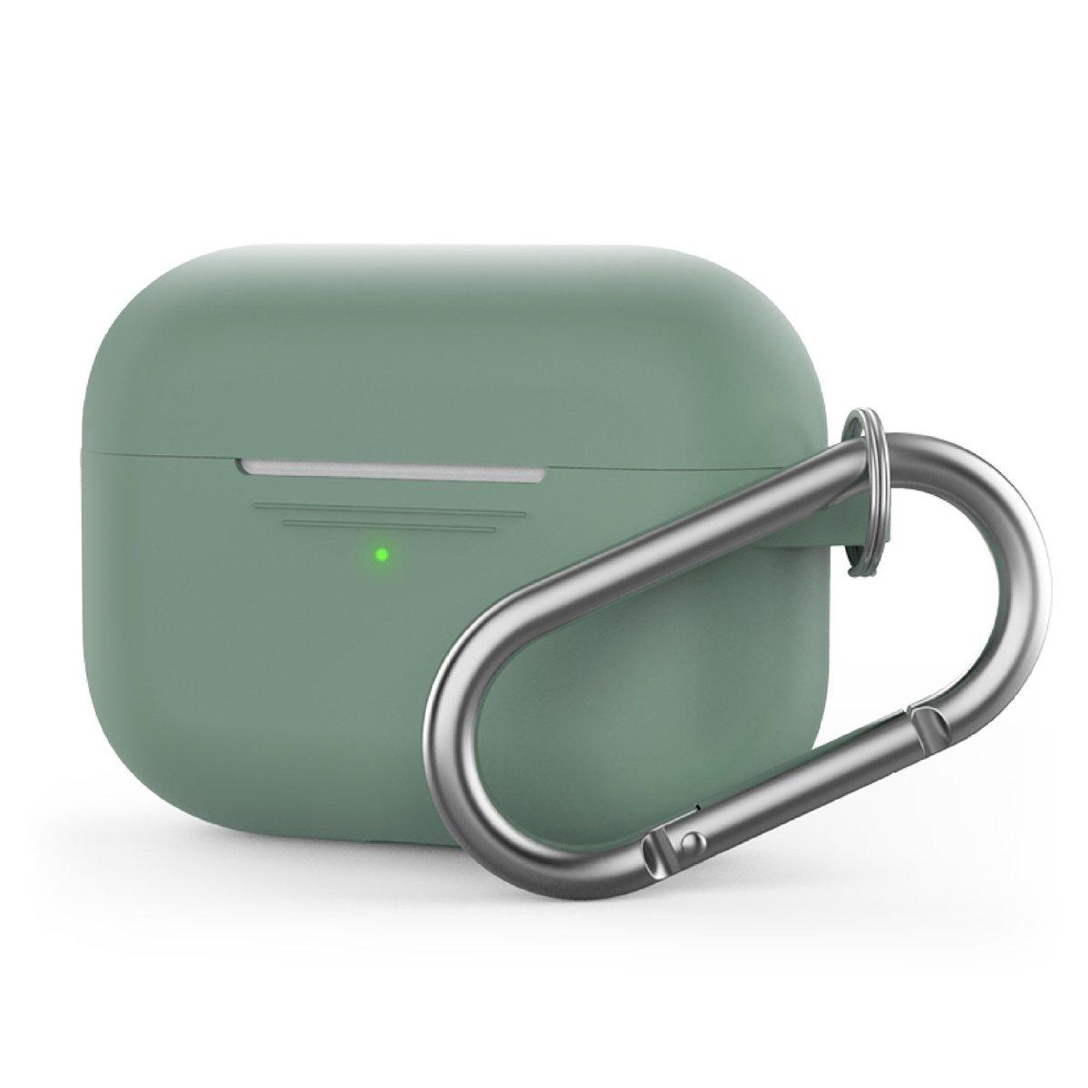 香港行貨 AirPods Pro 1.4mm 超薄矽膠連 掛鉤款保護套 松綠色