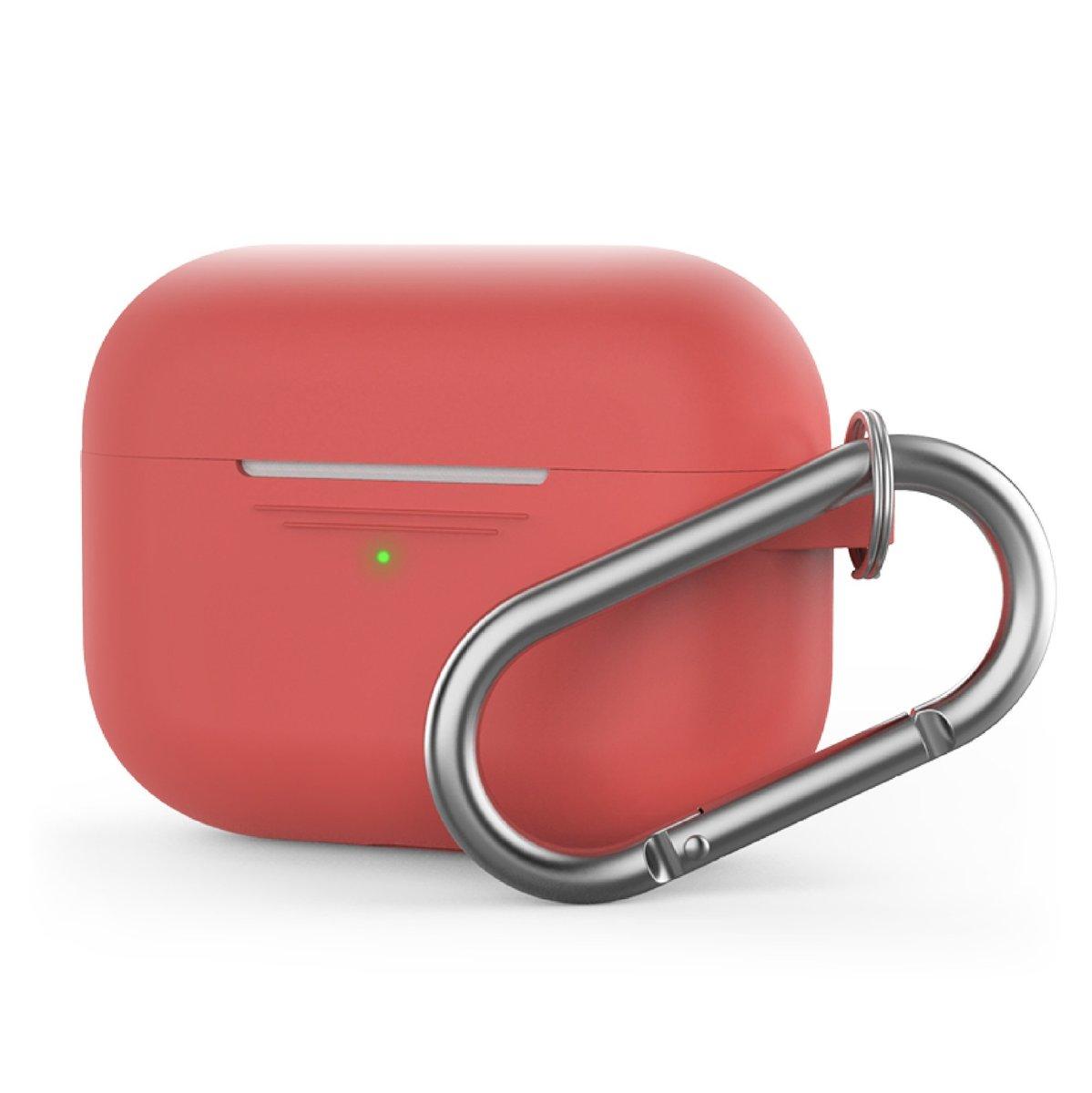 香港行貨 AirPods Pro 1.4mm 超薄矽膠連 掛鉤款保護套 紅色