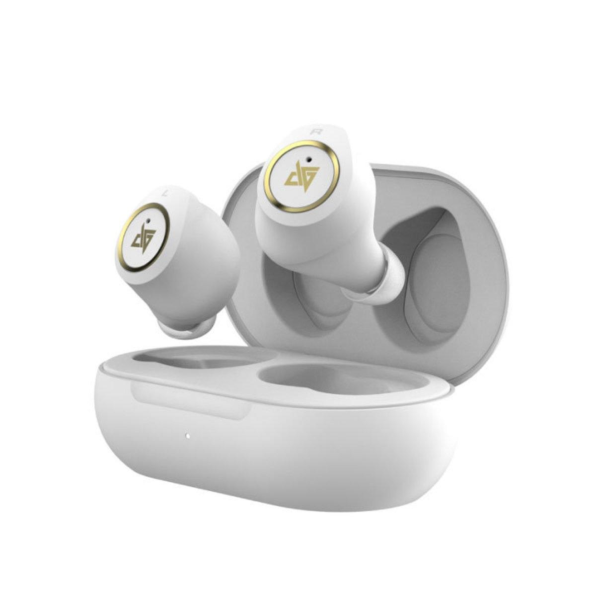 HK Supplier AT200 True Wireless Dual Dynamic IPX5 Bluetooth 5.0 In ear Earphone White
