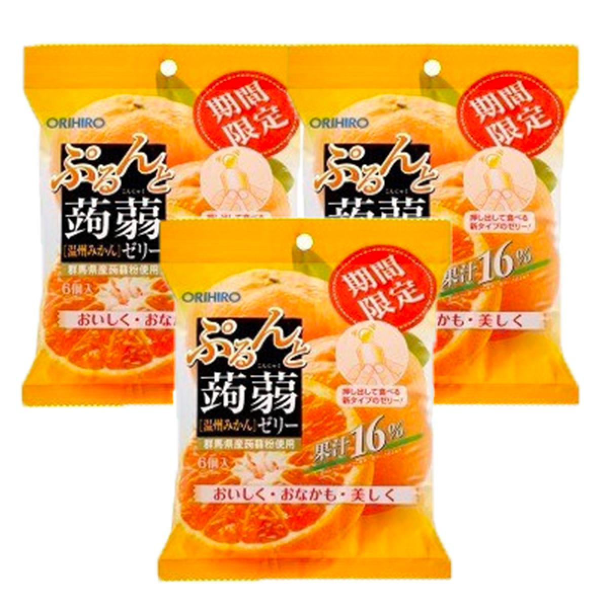 Orihiro Puru and Jelly pouch Mikan flavour 120g x 3 pack (4571157254821_3)