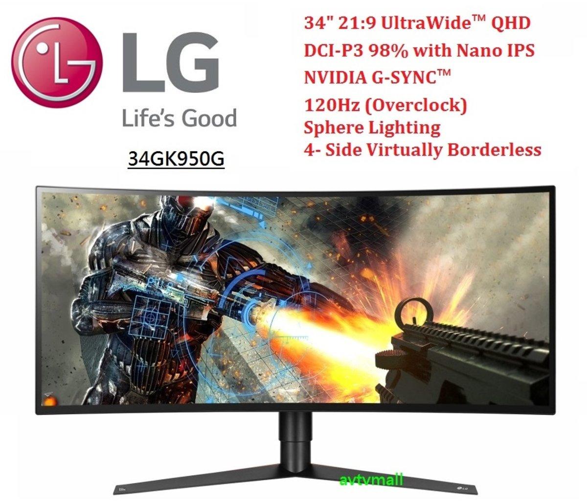 34 吋 21:9 UltraWide™ 弧形120 Hz 遊戲顯示器 G-SYNC™ 34GK950G (行貨3年保養 )