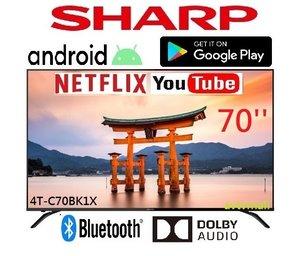 聲寶 4T-C70BK1X 70 4K android tv google play you tube nexflix HDR 智能電視 香港行貨 3年保用