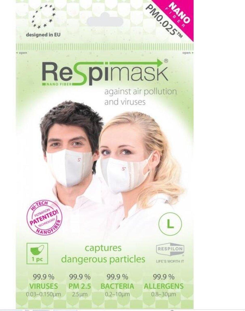捷克品牌ReSpimask®   納米纖維口罩(成人L碼) 10個裝 (有效阻隔細至0.03微粒 ,比N99 VFE 等標準超出3.3倍)