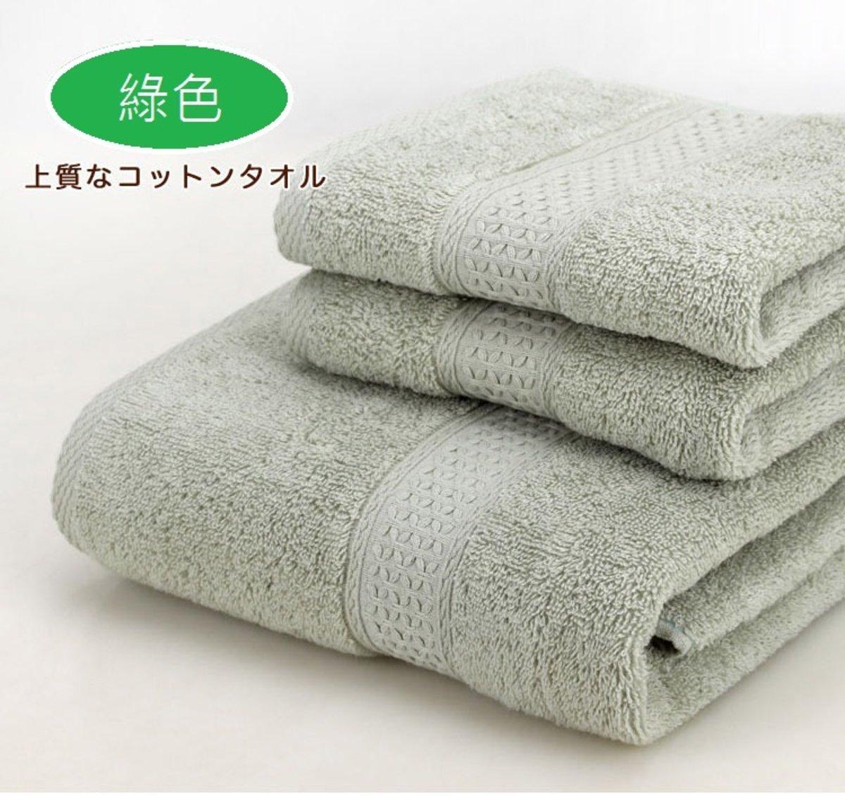 純棉大浴巾連毛巾3件套裝 / 綠色