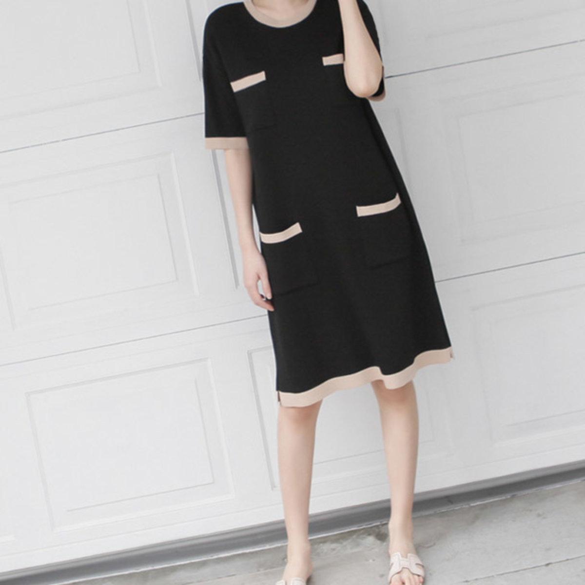 Pocket Colored Knit Dress