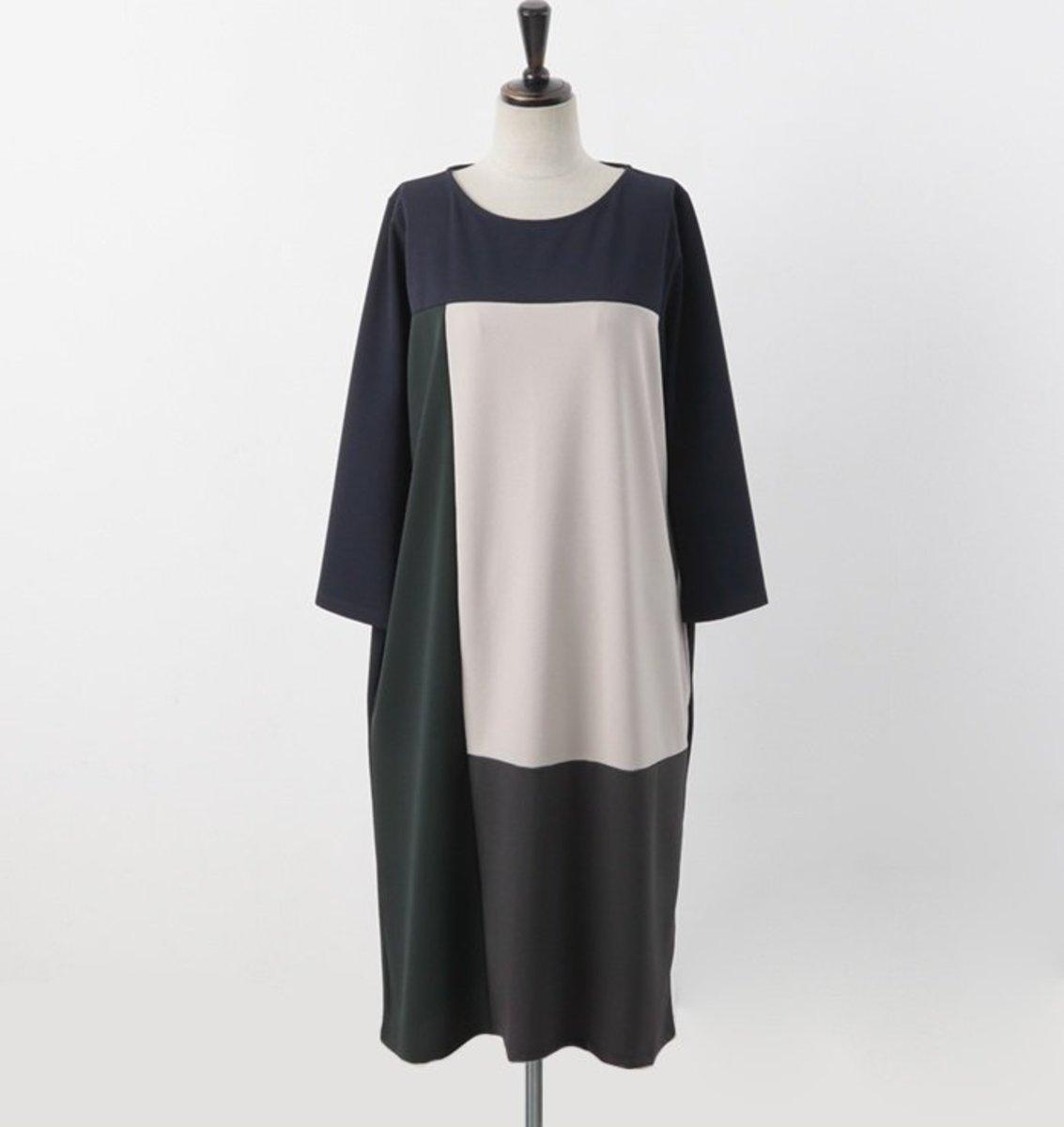 拼色圓領連身裙