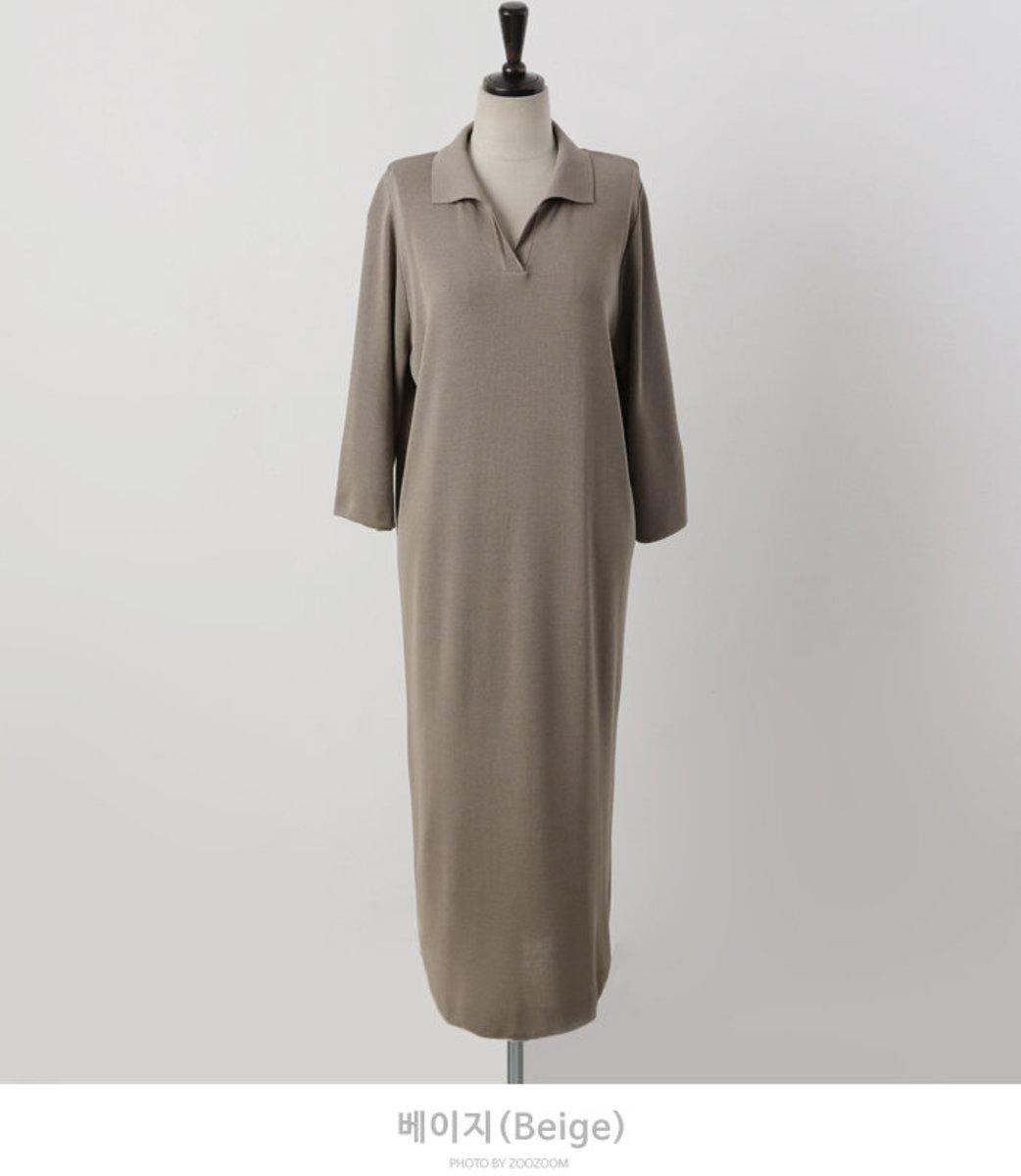 V Collared Straight Knit Dress