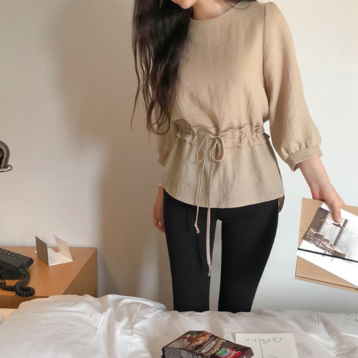 束腰7分袖襯衫