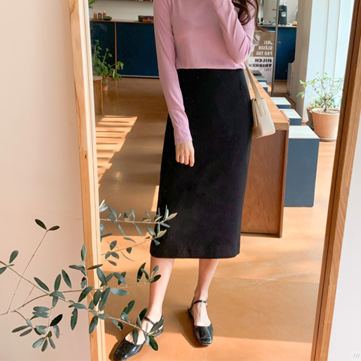 Color Point Long Skirt