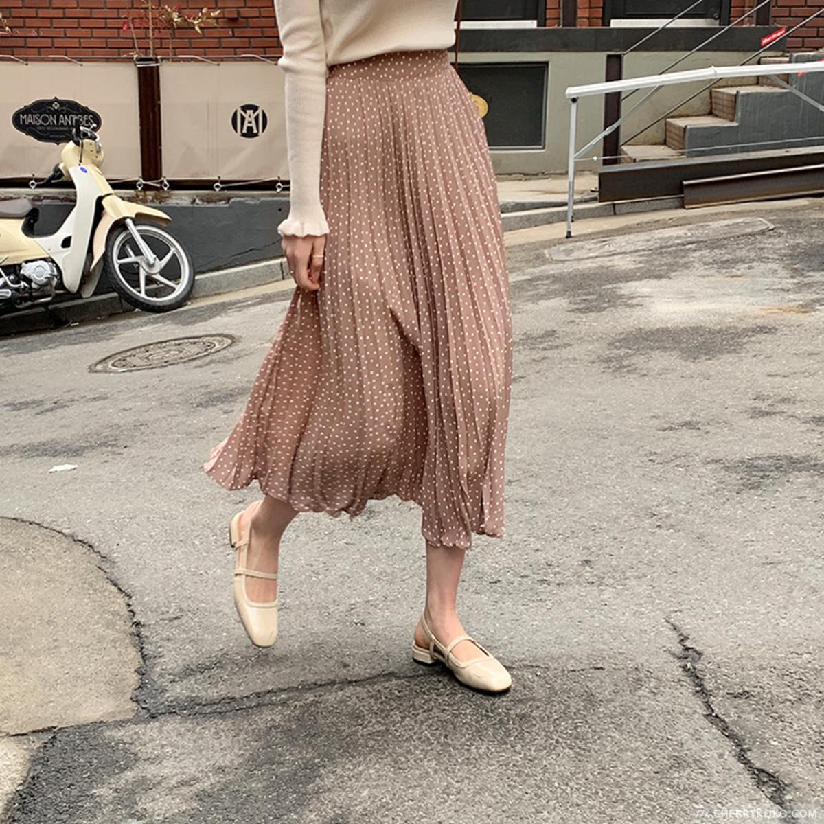 Dot Pleated Skirt