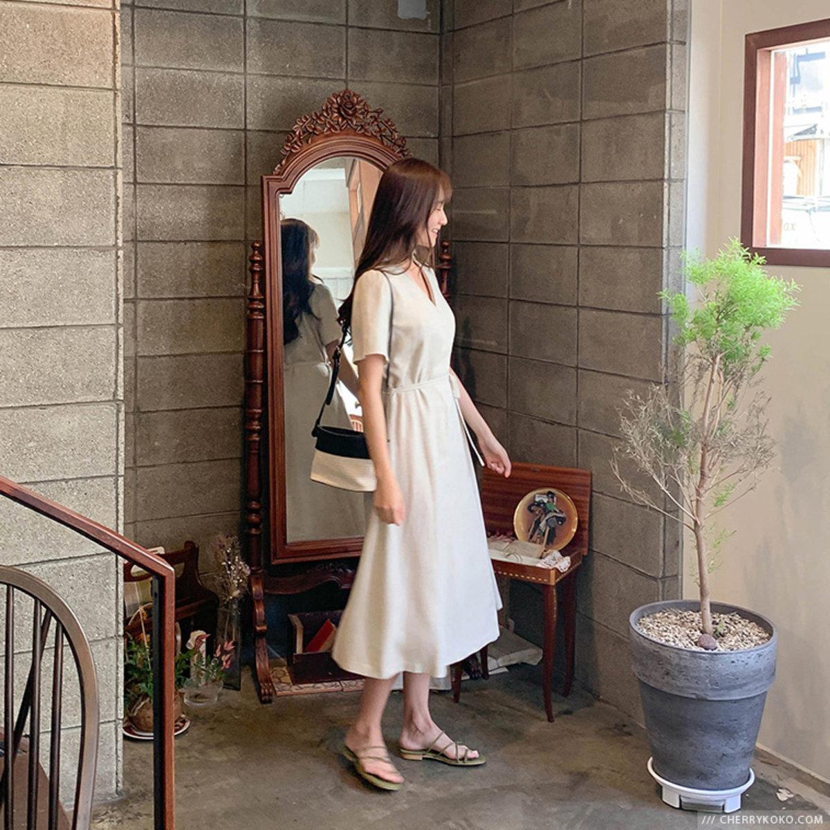 V領斜襟連身裙